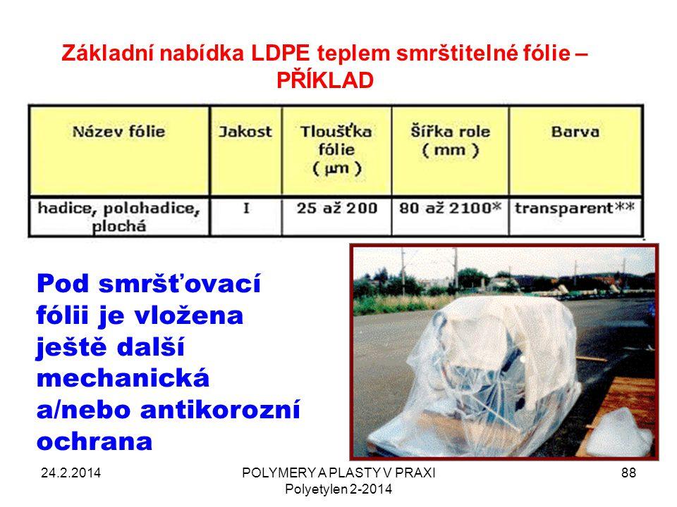 24.2.2014POLYMERY A PLASTY V PRAXI Polyetylen 2-2014 88 Základní nabídka LDPE teplem smrštitelné fólie – PŘÍKLAD Pod smršťovací fólii je vložena ještě