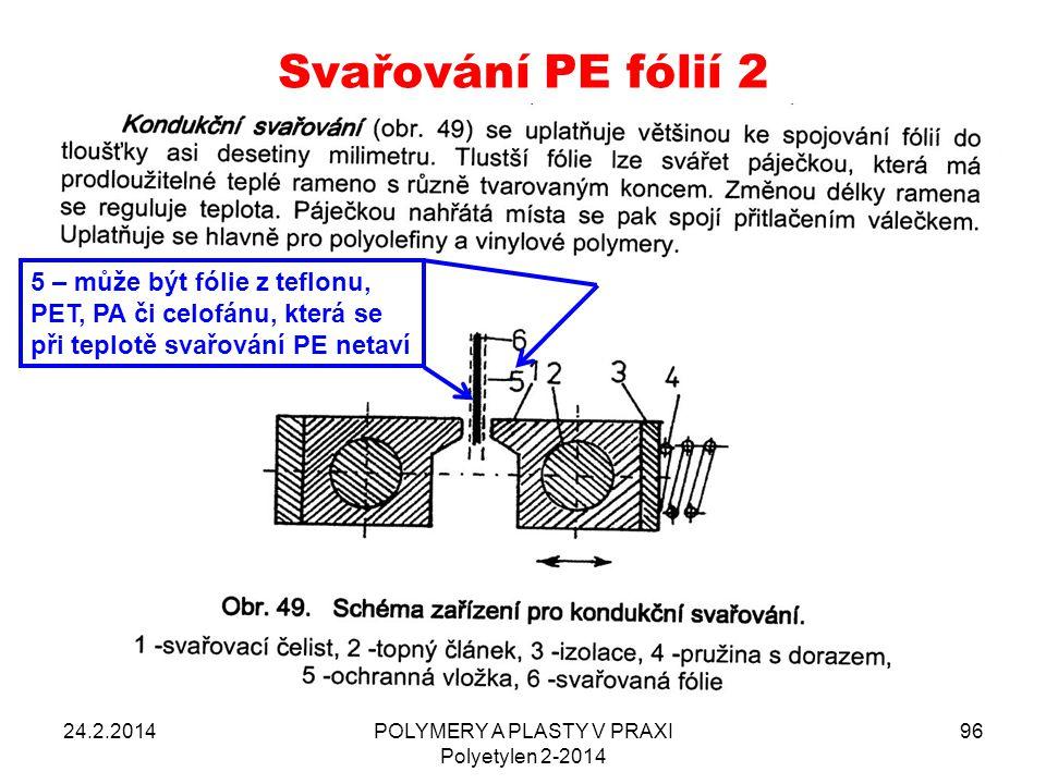 Svařování PE fólií 2 24.2.2014POLYMERY A PLASTY V PRAXI Polyetylen 2-2014 96 5 – může být fólie z teflonu, PET, PA či celofánu, která se při teplotě s