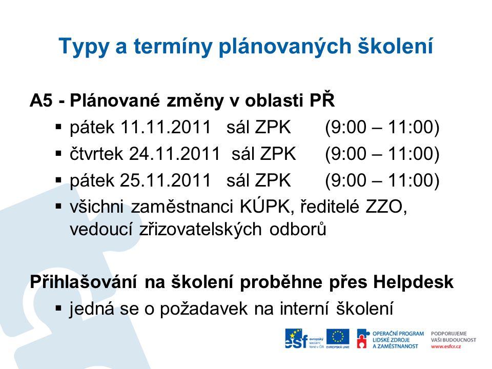 Typy a termíny plánovaných školení A5 - Plánované změny v oblasti PŘ  pátek 11.11.2011sál ZPK (9:00 – 11:00)  čtvrtek 24.11.2011 sál ZPK (9:00 – 11:00)  pátek 25.11.2011 sál ZPK (9:00 – 11:00)  všichni zaměstnanci KÚPK, ředitelé ZZO, vedoucí zřizovatelských odborů Přihlašování na školení proběhne přes Helpdesk  jedná se o požadavek na interní školení