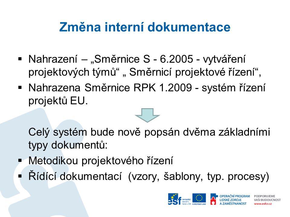"""Změna interní dokumentace  Nahrazení – """"Směrnice S - 6.2005 - vytváření projektových týmů """" Směrnicí projektové řízení ,  Nahrazena Směrnice RPK 1.2009 - systém řízení projektů EU."""
