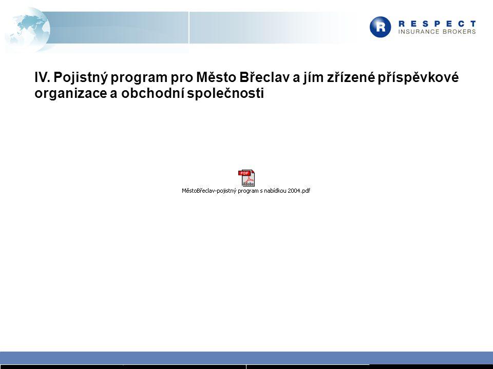 IV. Pojistný program pro Město Břeclav a jím zřízené příspěvkové organizace a obchodní společnosti