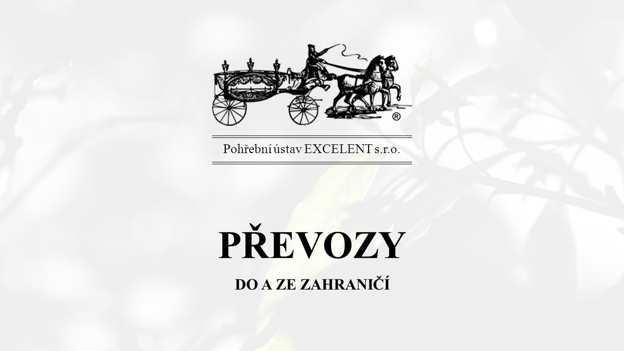 PŘEVOZY DO A ZE ZAHRANIČÍ Pohřební ústav EXCELENT s.r.o.