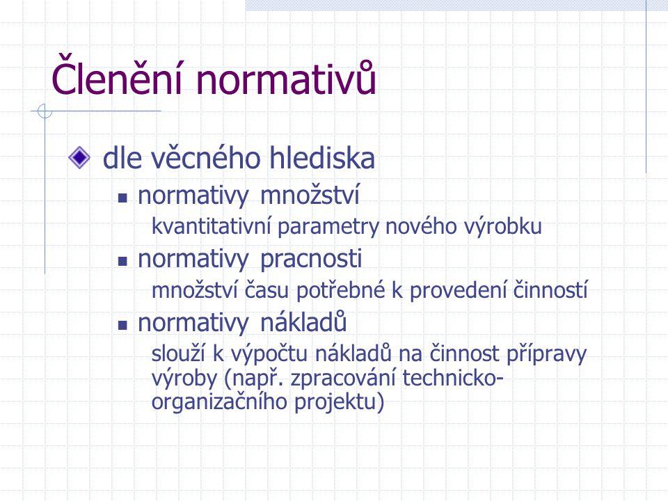 Členění normativů dle věcného hlediska normativy množství kvantitativní parametry nového výrobku normativy pracnosti množství času potřebné k proveden