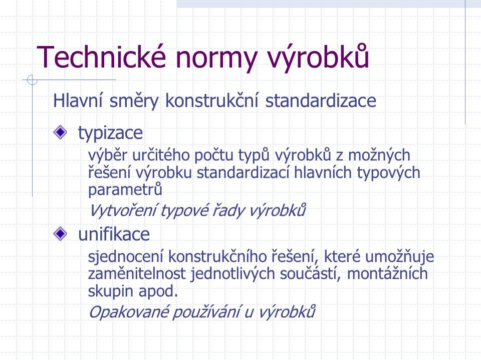 Technické normy výrobků typizace výběr určitého počtu typů výrobků z možných řešení výrobku standardizací hlavních typových parametrů Vytvoření typové