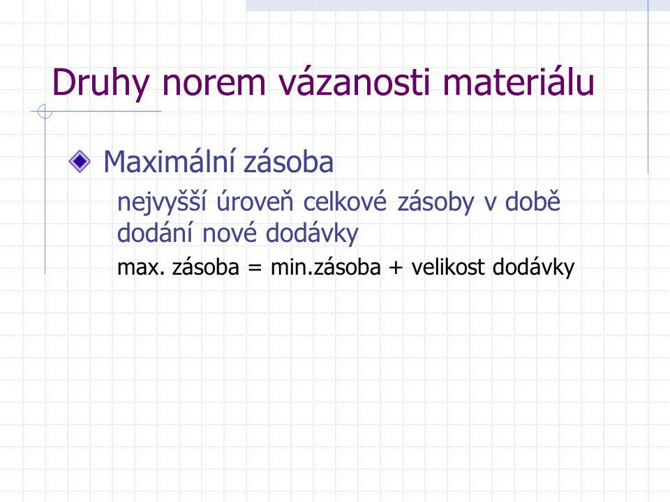 Druhy norem vázanosti materiálu Maximální zásoba nejvyšší úroveň celkové zásoby v době dodání nové dodávky max. zásoba = min.zásoba + velikost dodávky