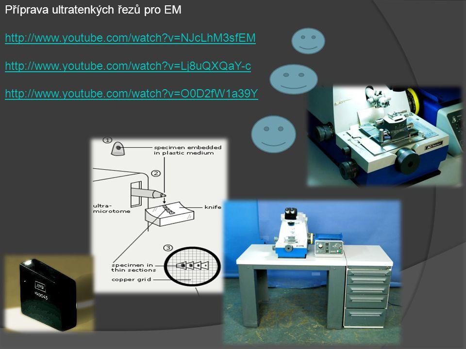 Příprava ultratenkých řezů pro EM http://www.youtube.com/watch?v=NJcLhM3sfEM http://www.youtube.com/watch?v=Lj8uQXQaY-c http://www.youtube.com/watch?v