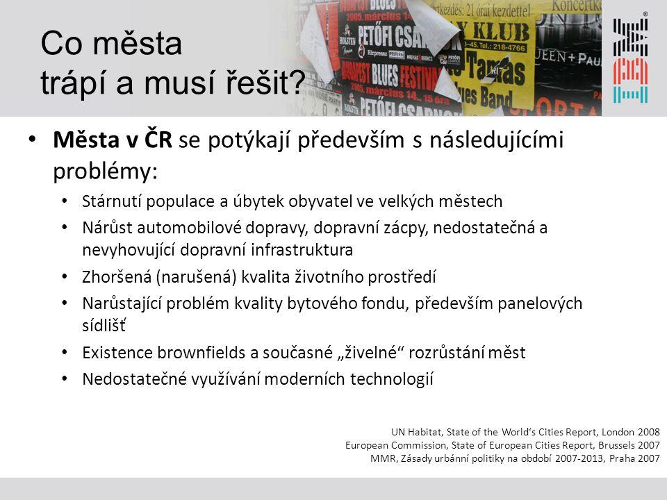 Co města trápí a musí řešit? Města v ČR se potýkají především s následujícími problémy: Stárnutí populace a úbytek obyvatel ve velkých městech Nárůst