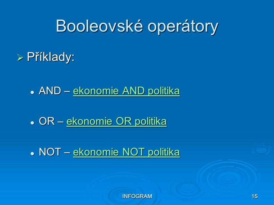 INFOGRAM15 Booleovské operátory  Příklady: AND – ekonomie AND politika AND – ekonomie AND politikaekonomie AND politikaekonomie AND politika OR – eko