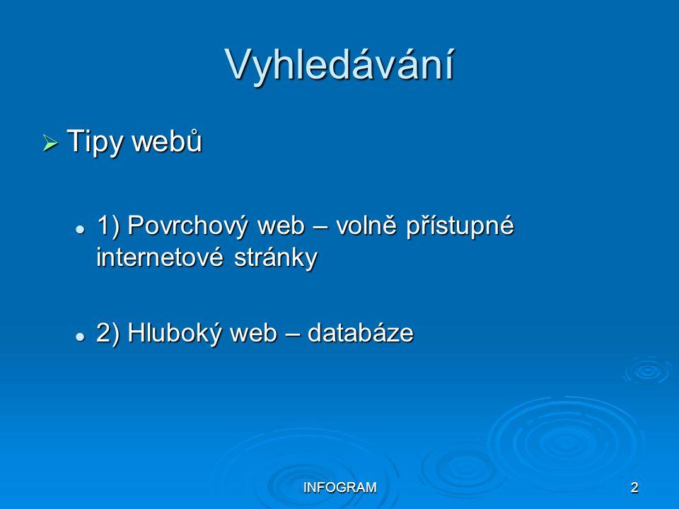 INFOGRAM2 Vyhledávání  Tipy webů 1) Povrchový web – volně přístupné internetové stránky 1) Povrchový web – volně přístupné internetové stránky 2) Hlu