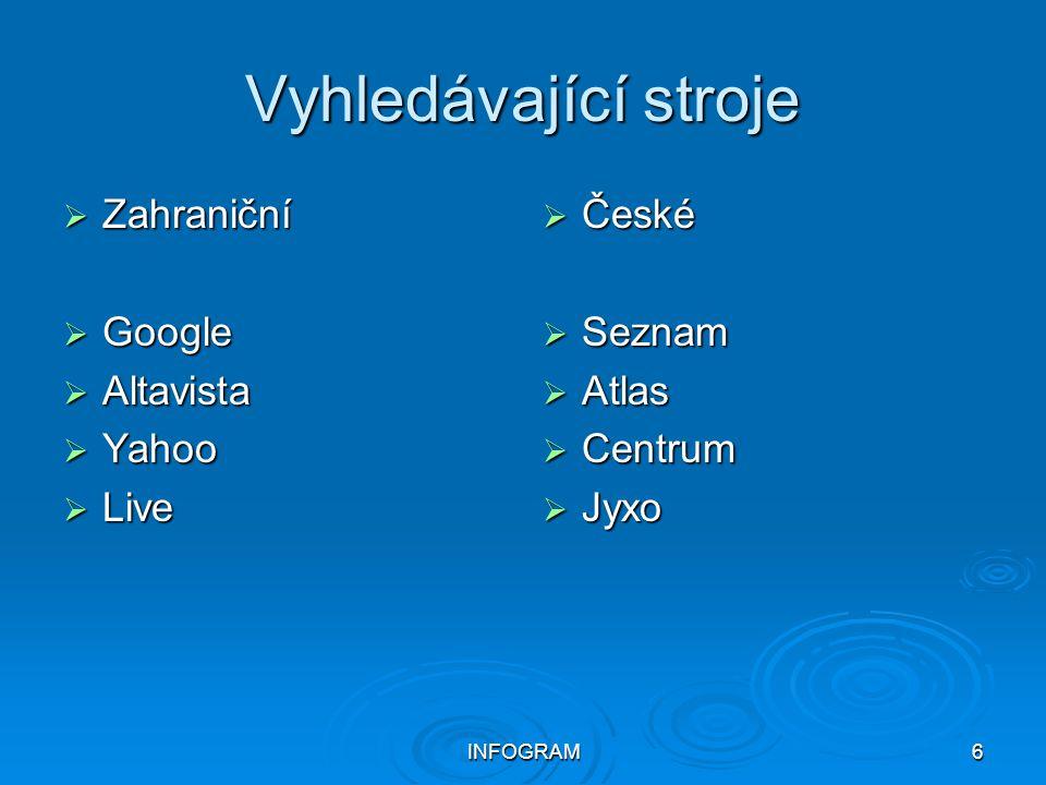 INFOGRAM6 Vyhledávající stroje  Zahraniční  Google  Altavista  Yahoo  Live  České  Seznam  Atlas  Centrum  Jyxo