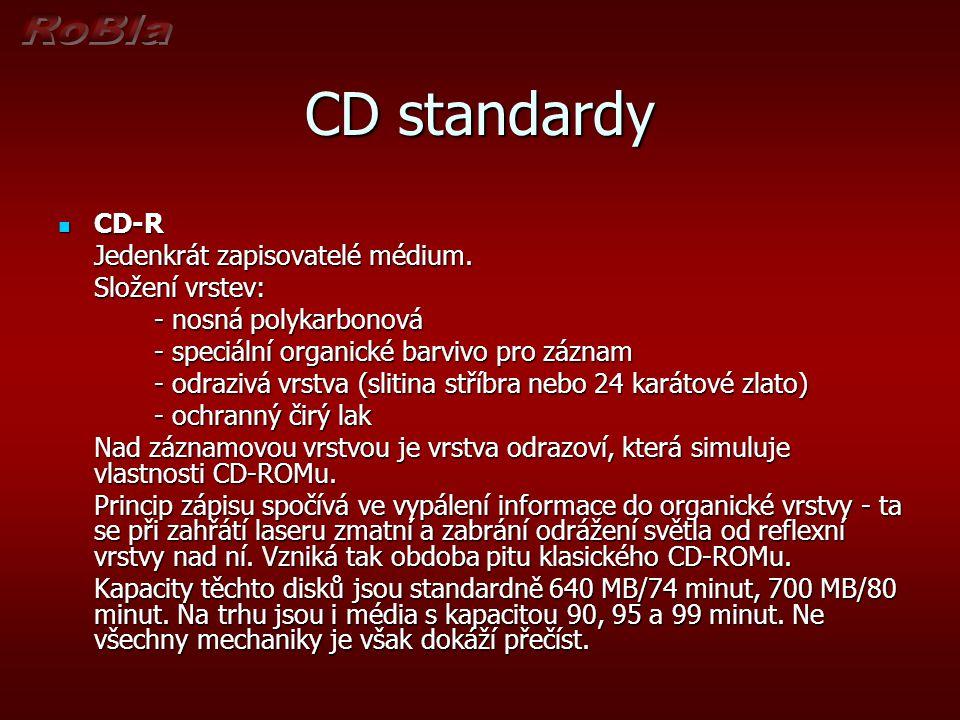 CD standardy CD-RW CD-RW Přepisovatelé kompaktní disky.