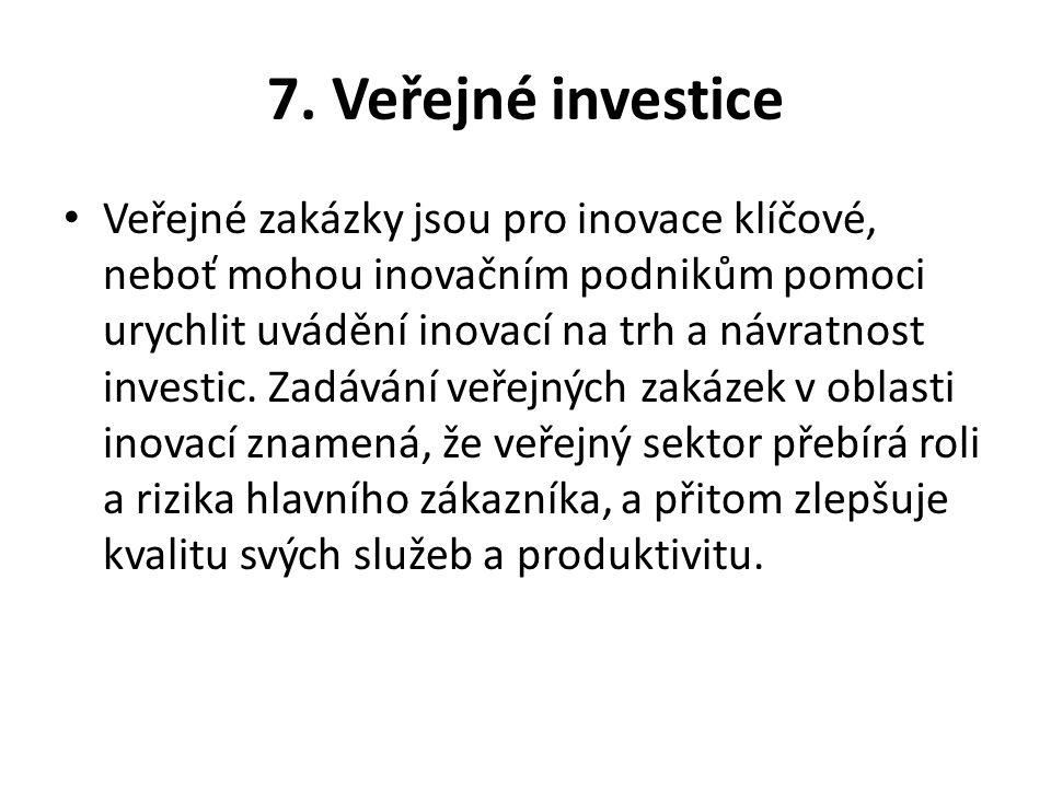 7. Veřejné investice Veřejné zakázky jsou pro inovace klíčové, neboť mohou inovačním podnikům pomoci urychlit uvádění inovací na trh a návratnost inve