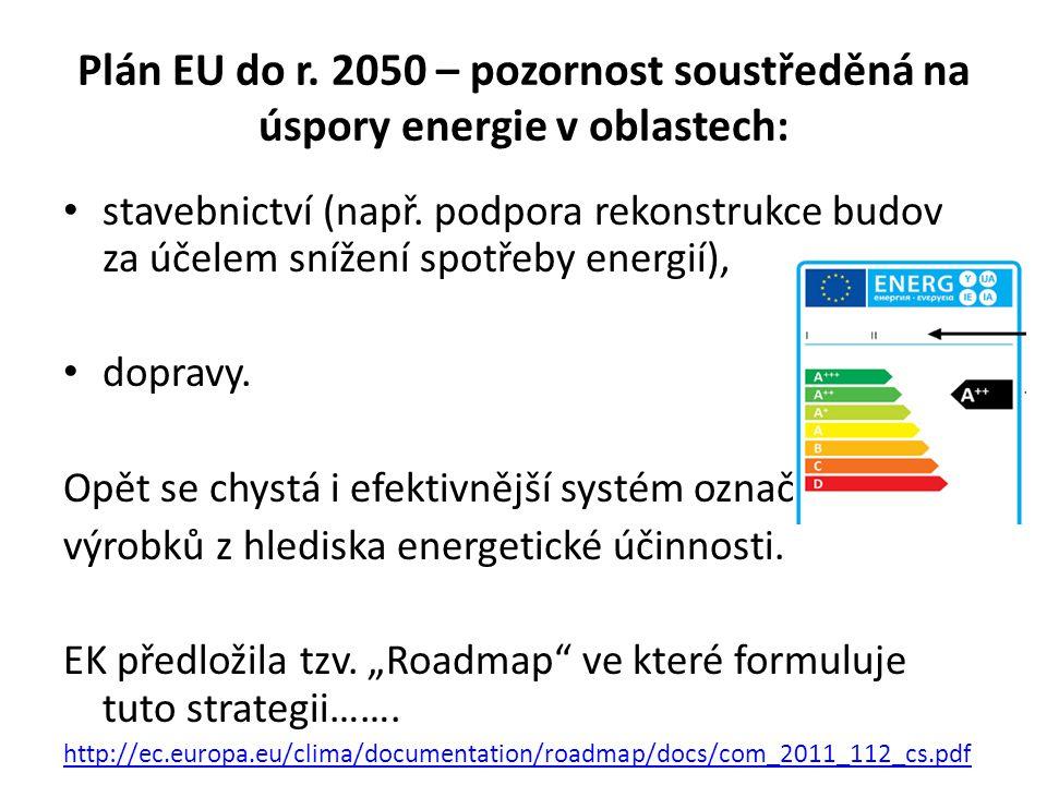 Plán EU do r. 2050 – pozornost soustředěná na úspory energie v oblastech: stavebnictví (např.