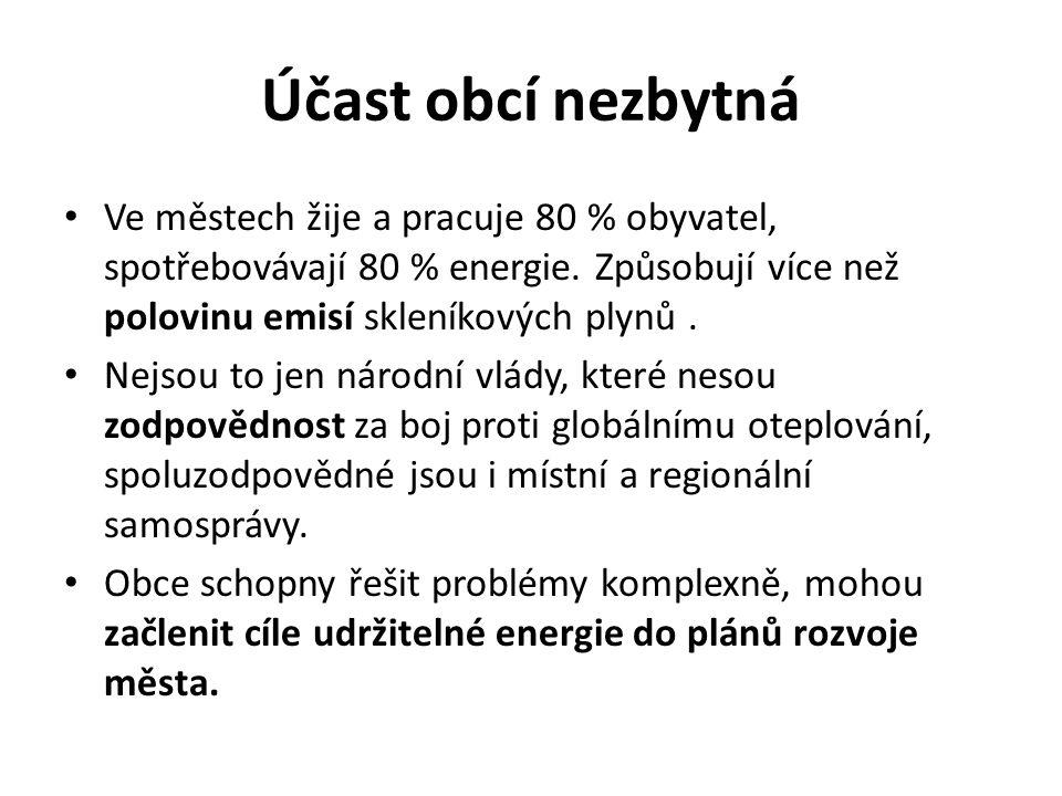 Účast obcí nezbytná Ve městech žije a pracuje 80 % obyvatel, spotřebovávají 80 % energie.