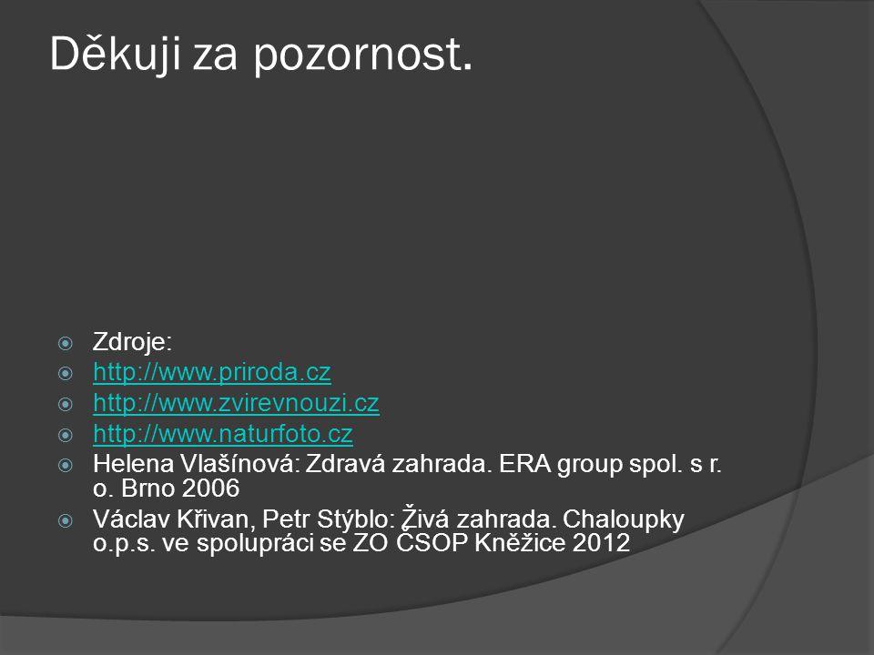 Děkuji za pozornost.  Zdroje:  http://www.priroda.cz http://www.priroda.cz  http://www.zvirevnouzi.cz http://www.zvirevnouzi.cz  http://www.naturf