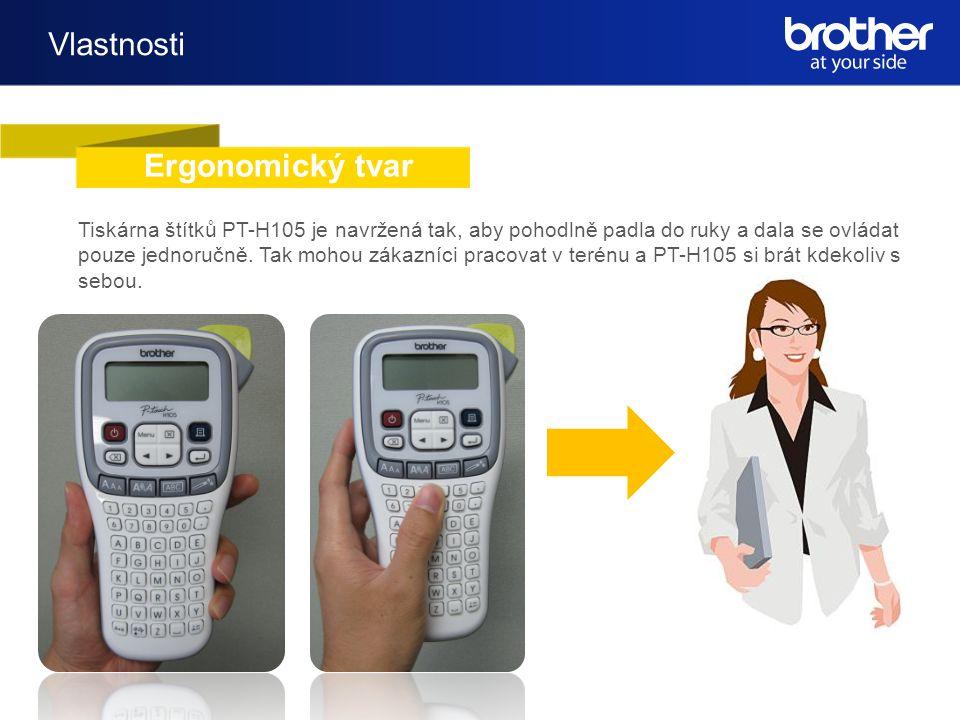 Vlastnosti Ergonomický tvar Tiskárna štítků PT-H105 je navržená tak, aby pohodlně padla do ruky a dala se ovládat pouze jednoručně.