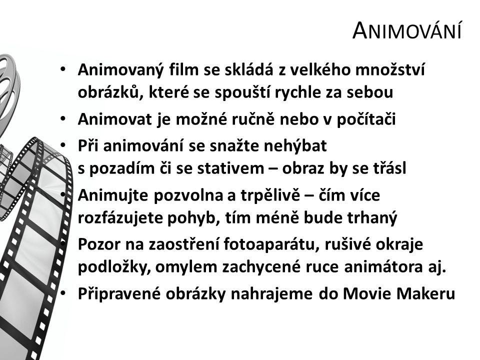 A NIMOVÁNÍ Animovaný film se skládá z velkého množství obrázků, které se spouští rychle za sebou Animovat je možné ručně nebo v počítači Při animování