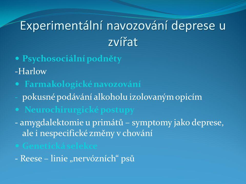 Experimentální navozování deprese u zvířat Psychosociální podněty -Harlow Farmakologické navozování - pokusné podávání alkoholu izolovaným opicím Neur
