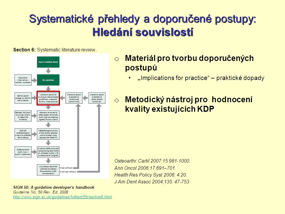 Systematické přehledy Filozofie & metodika tvorby (1) Systematic reviews: CRD s guidance for undertaking reviews in health care.