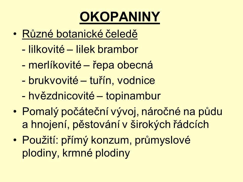 Dělení podle užitkových částí: a)hlíznaté okopaniny – brambory (Solanum tuberosum) a topinambury (Helianthus tuberosus), jakon (Polymnia sonchifolia), batáty (Ipomoea batatas), v praxi se množí vegetativně b)bulevnaté okopaniny – řepa (Beta vulgaris), krmná mrkev a brukev, čekanka (Cichorium intybus var.