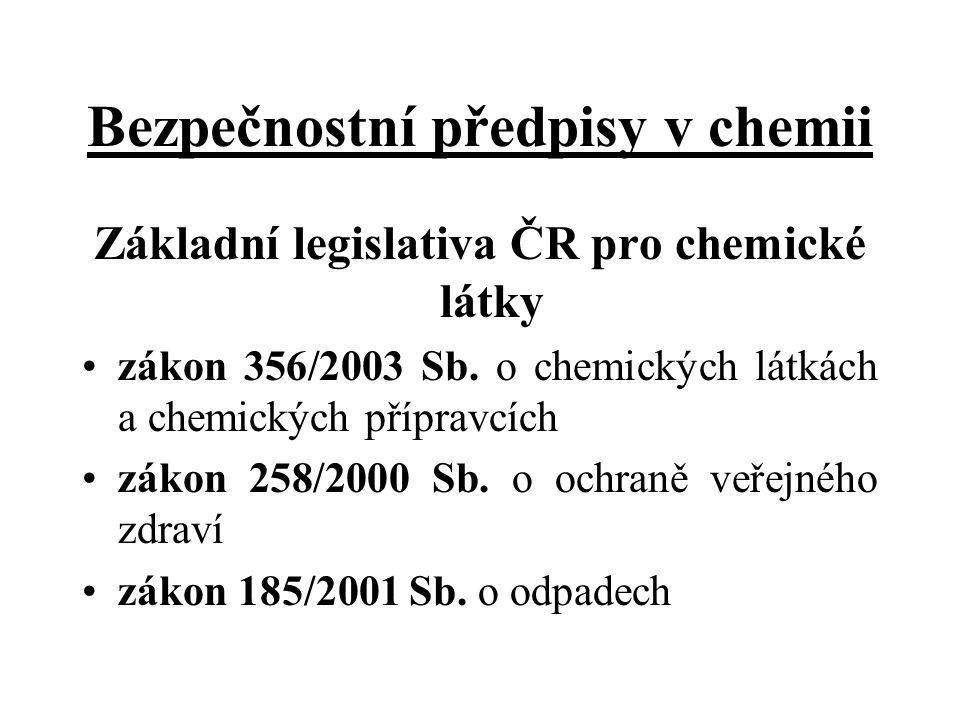 Bezpečnostní předpisy v chemii Základní legislativa ČR pro chemické látky zákon 356/2003 Sb. o chemických látkách a chemických přípravcích zákon 258/2