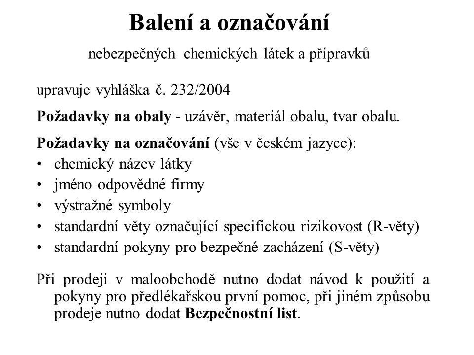 Balení a označování nebezpečných chemických látek a přípravků upravuje vyhláška č. 232/2004 Požadavky na obaly - uzávěr, materiál obalu, tvar obalu. P