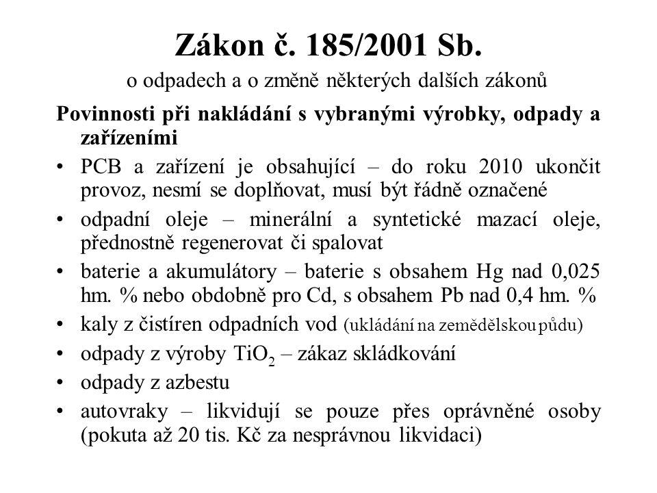 Zákon č. 185/2001 Sb. o odpadech a o změně některých dalších zákonů Povinnosti při nakládání s vybranými výrobky, odpady a zařízeními PCB a zařízení j