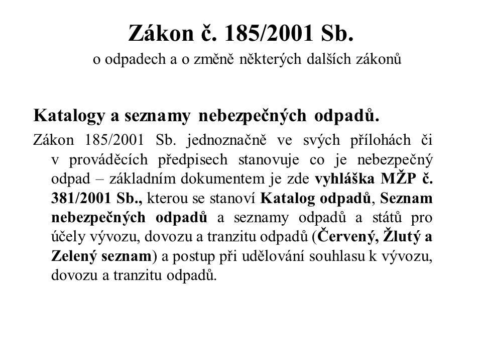Katalogy a seznamy nebezpečných odpadů. Zákon 185/2001 Sb. jednoznačně ve svých přílohách či v prováděcích předpisech stanovuje co je nebezpečný odpad