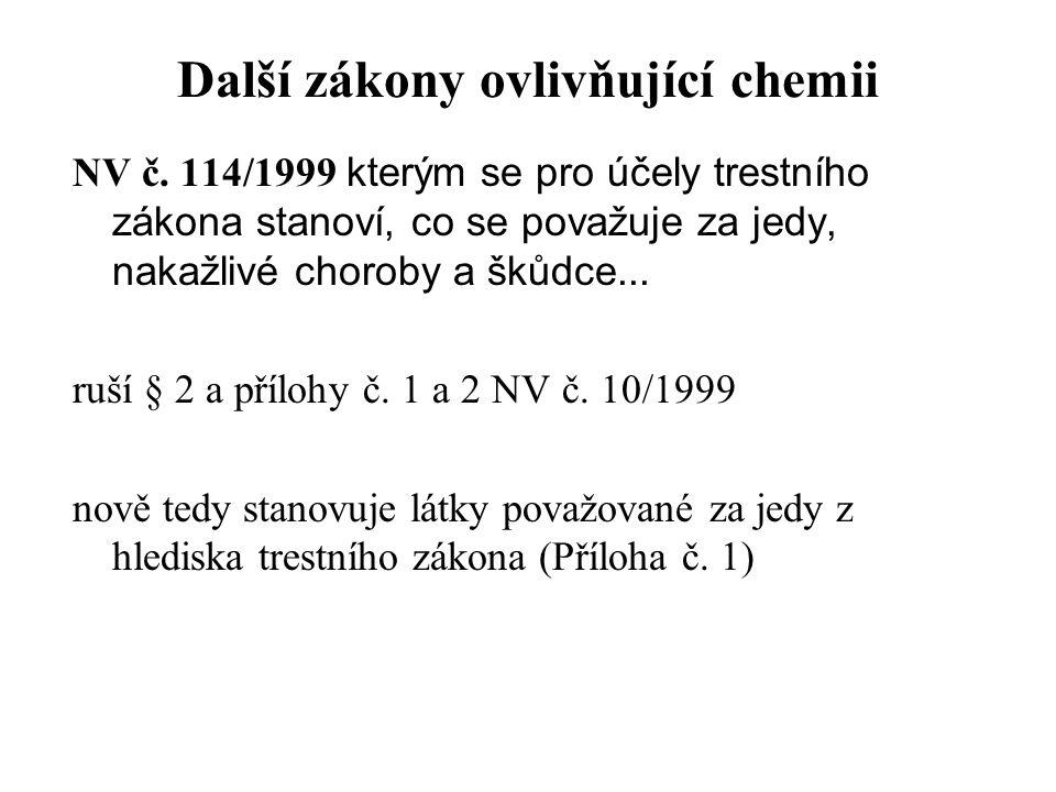 Další zákony ovlivňující chemii NV č. 114/1999 kterým se pro účely trestního zákona stanoví, co se považuje za jedy, nakažlivé choroby a škůdce... ruš