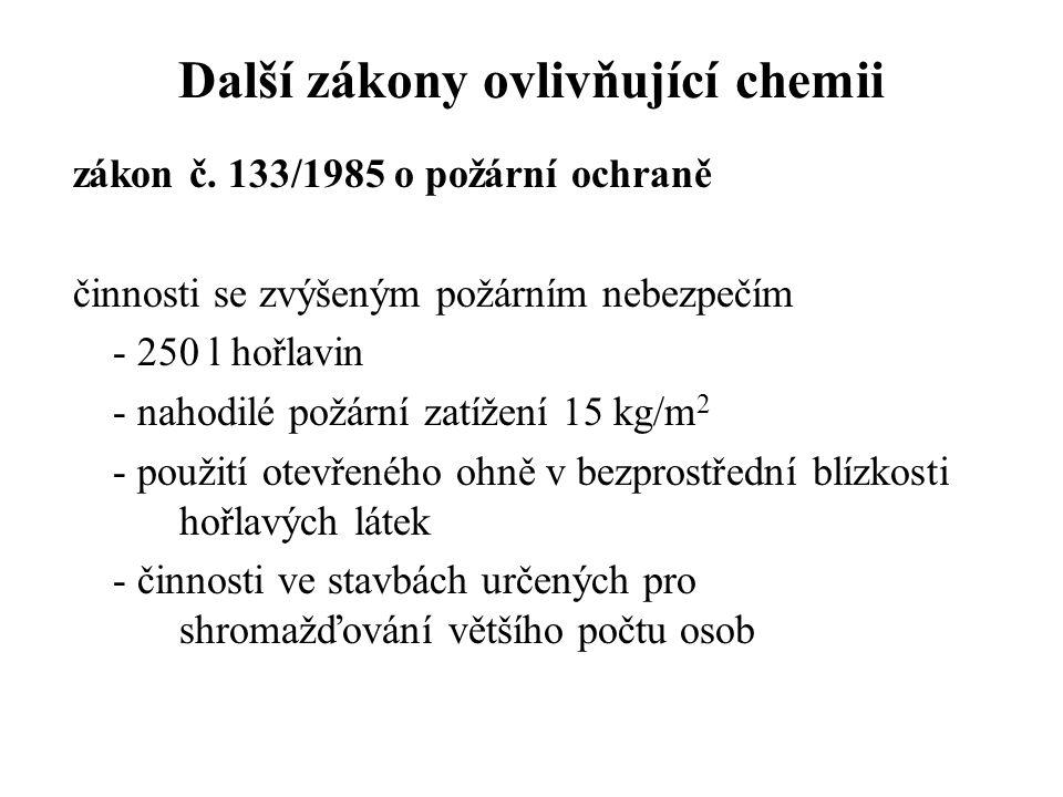 Další zákony ovlivňující chemii zákon č. 133/1985 o požární ochraně činnosti se zvýšeným požárním nebezpečím - 250 l hořlavin - nahodilé požární zatíž