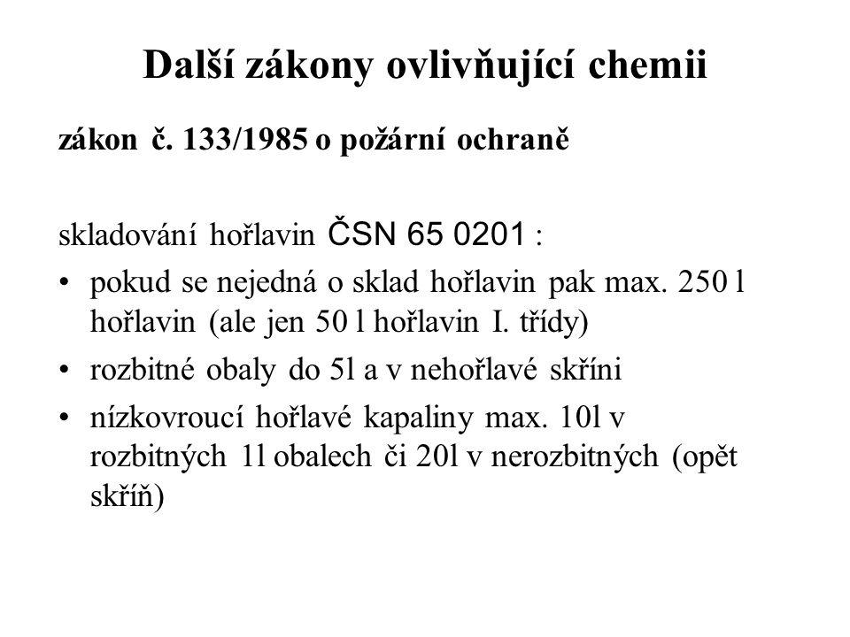 Další zákony ovlivňující chemii zákon č. 133/1985 o požární ochraně skladování hořlavin ČSN 65 0201 : pokud se nejedná o sklad hořlavin pak max. 250 l