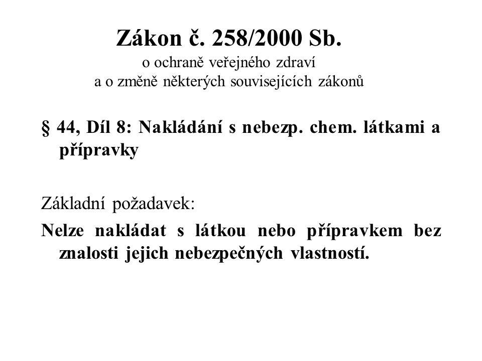 Zákon č. 258/2000 Sb. o ochraně veřejného zdraví a o změně některých souvisejících zákonů § 44, Díl 8: Nakládání s nebezp. chem. látkami a přípravky Z