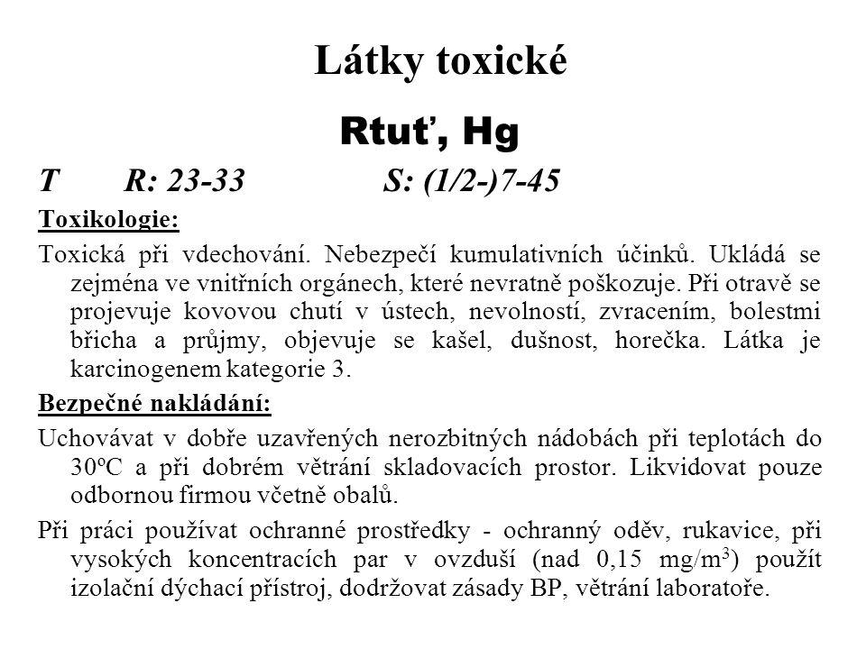 Látky toxické Rtuť, Hg TR: 23-33S: (1/2-)7-45 Toxikologie: Toxická při vdechování. Nebezpečí kumulativních účinků. Ukládá se zejména ve vnitřních orgá
