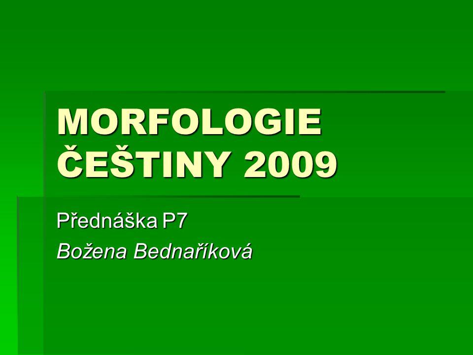 MORFOLOGIE ČEŠTINY 2009 Přednáška P7 Božena Bednaříková