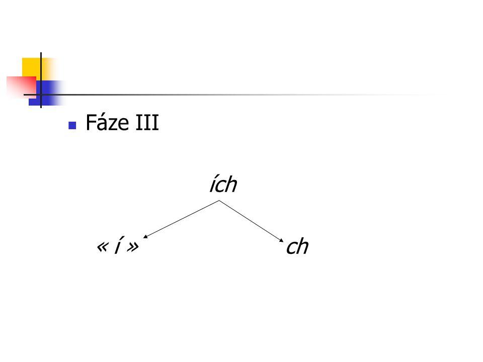 Fáze III ích « í » ch