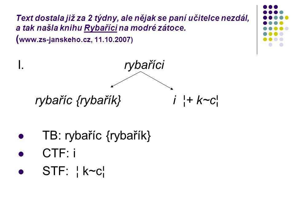 Text dostala již za 2 týdny, ale nějak se paní učitelce nezdál, a tak našla knihu Rybaříci na modré zátoce. ( www.zs-janskeho.cz, 11.10.2007) I. rybař