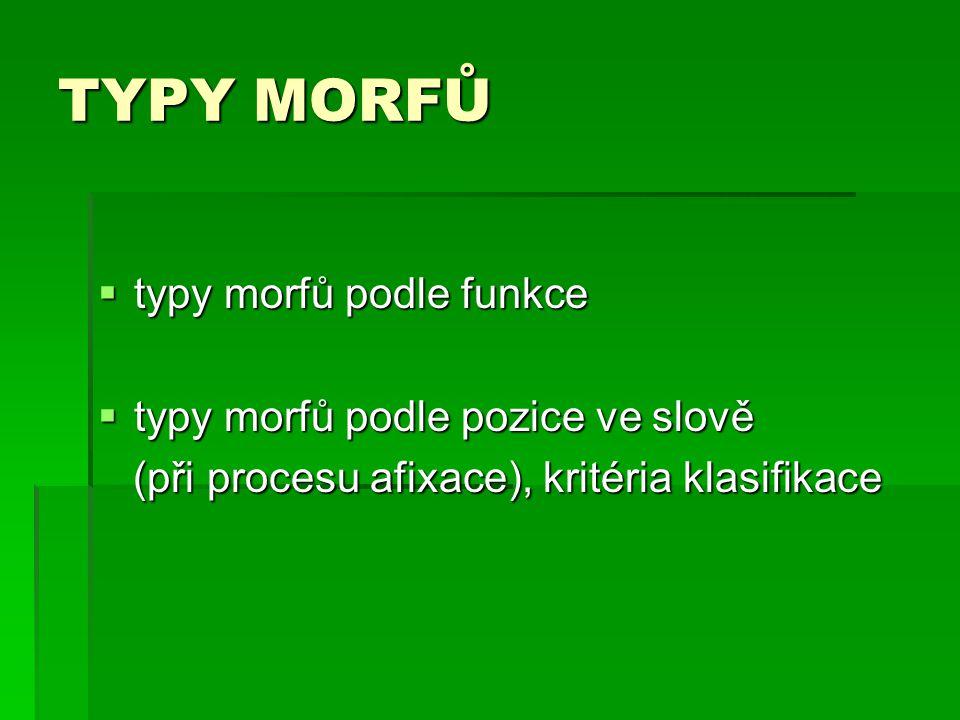 TYPY MORFŮ  typy morfů podle funkce  typy morfů podle pozice ve slově (při procesu afixace), kritéria klasifikace (při procesu afixace), kritéria kl