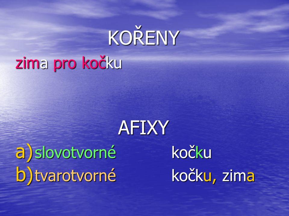 Typy morfů podle pozice ve slově (při morfologickém procesu AFIXACE) Klasifikace podle 2 kritérií: 1 ) přerušují afixy kořen.