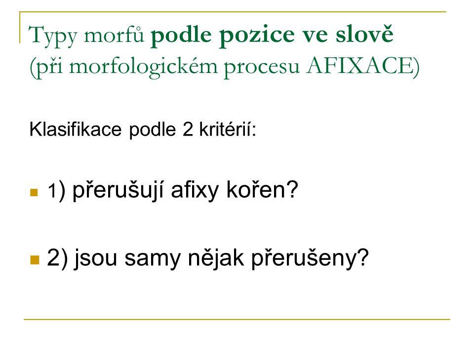 Typy morfů podle pozice ve slově (při morfologickém procesu AFIXACE) Klasifikace podle 2 kritérií: 1 ) přerušují afixy kořen? 2) jsou samy nějak přeru