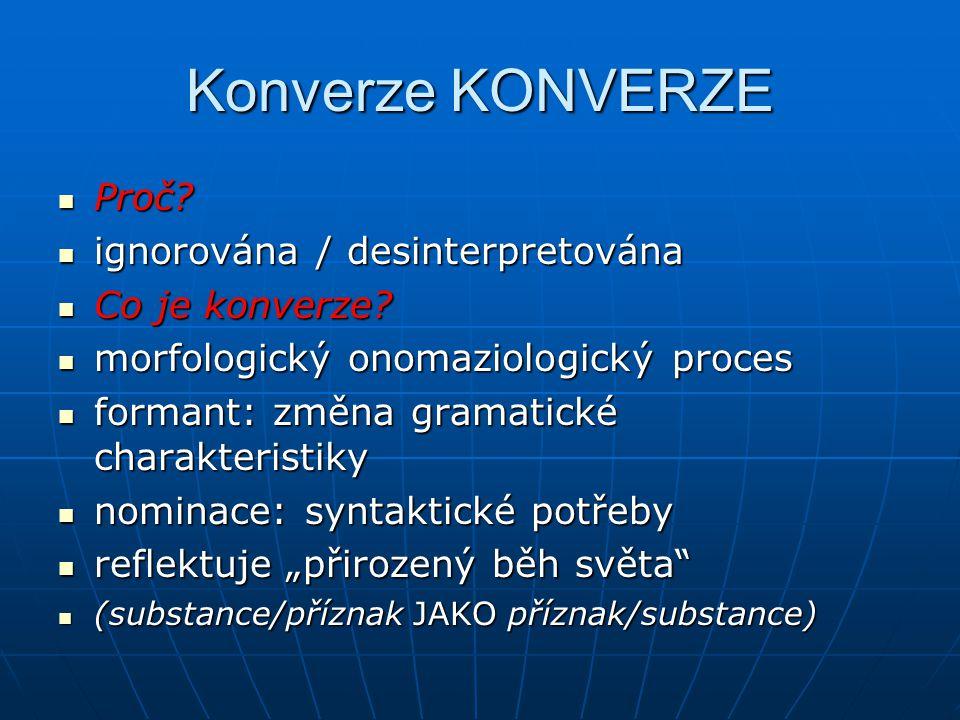 Konverze KONVERZE Proč? Proč? ignorována / desinterpretována ignorována / desinterpretována Co je konverze? Co je konverze? morfologický onomaziologic