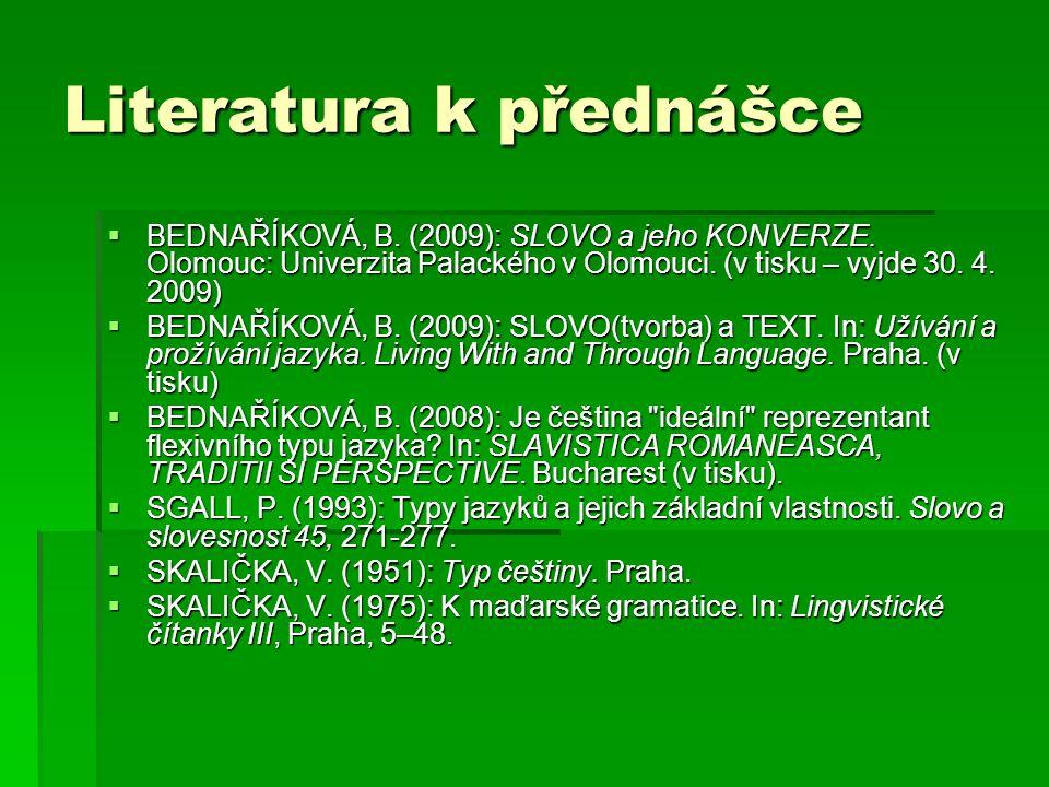 Literatura k přednášce  BEDNAŘÍKOVÁ, B. (2009): SLOVO a jeho KONVERZE. Olomouc: Univerzita Palackého v Olomouci. (v tisku – vyjde 30. 4. 2009)  BEDN