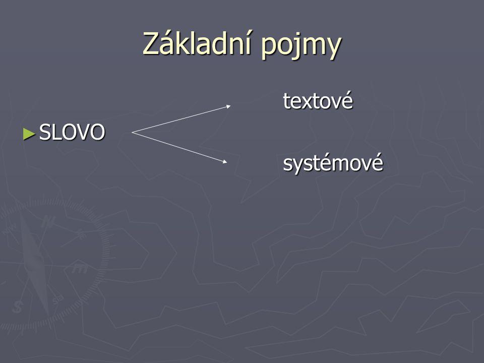 Základní pojmy textové textové ► SLOVO systémové systémové