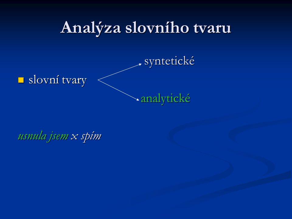 Analýza slovního tvaru syntetické syntetické slovní tvary slovní tvary analytické analytické usnula jsem x spím
