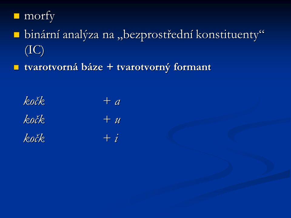 """morfy morfy binární analýza na """"bezprostřední konstituenty"""" (IC) binární analýza na """"bezprostřední konstituenty"""" (IC) tvarotvorná báze + tvarotvorný f"""
