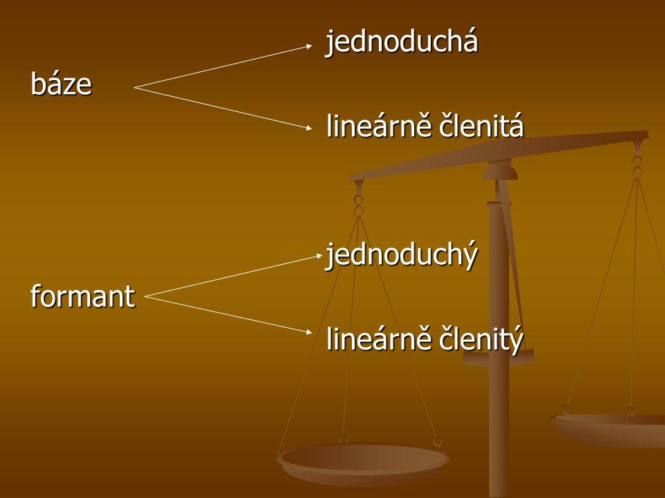 jednoduchá jednoduchábáze lineárně členitá lineárně členitá jednoduchý jednoduchýformant lineárně členitý lineárně členitý