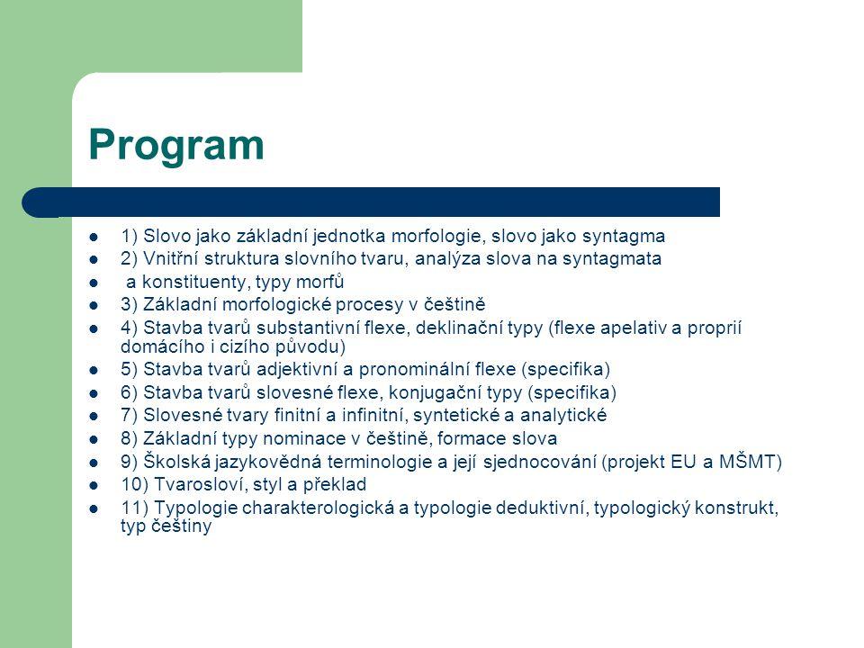 Program 1) Slovo jako základní jednotka morfologie, slovo jako syntagma 2) Vnitřní struktura slovního tvaru, analýza slova na syntagmata a konstituent
