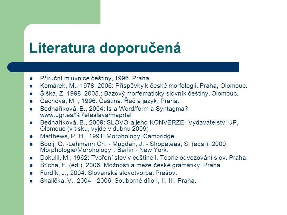 Literatura doporučená Příruční mluvnice češtiny, 1996. Praha. Komárek, M., 1978, 2006: Příspěvky k české morfologii. Praha, Olomouc. Šiška, Z, 1998, 2