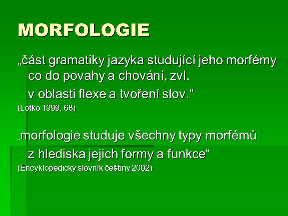 """MORFOLOGIE """"část gramatiky jazyka studující jeho morfémy co do povahy a chování, zvl. v oblasti flexe a tvoření slov."""" v oblasti flexe a tvoření slov."""
