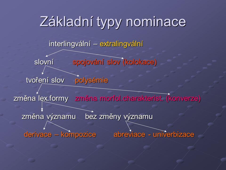 Základní typy nominace interlingvální – extralingvální interlingvální – extralingvální slovní spojování slov (kolokace) slovní spojování slov (kolokac
