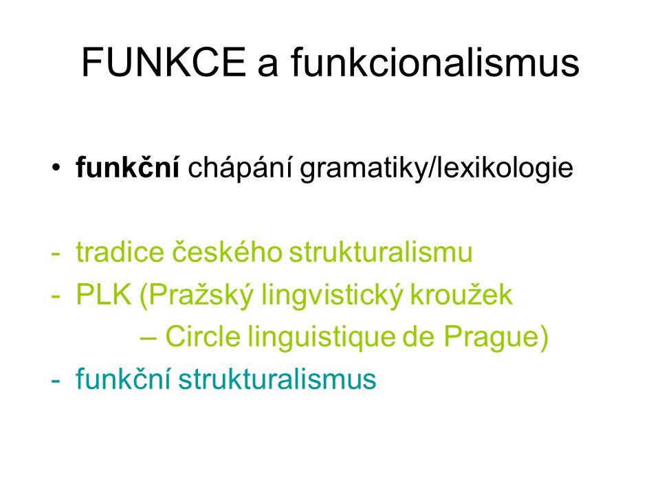 FUNKCE a funkcionalismus funkční chápání gramatiky/lexikologie -tradice českého strukturalismu -PLK (Pražský lingvistický kroužek – Circle linguistiqu